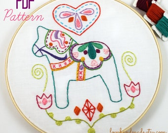 Dala Horse Love Swedish Scandinavian Embroidery PDF Pattern
