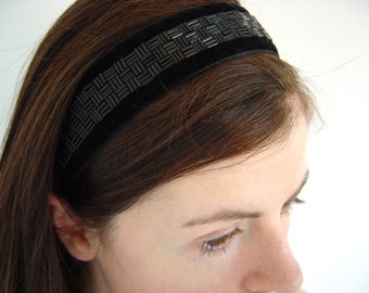 Black Velvet Headband, Headband For Women, Art Deco Headband, Velvet Headbands, Black Headband, Beaded Hairband, Elastic Headband, Wide band