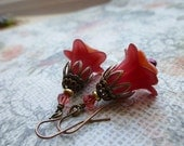Romantic Red Flower Earrings with Czech Glass and Antique Copper