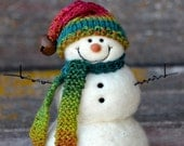 Snowmen - Wool Needle Felted Snowman - winter decor - 247