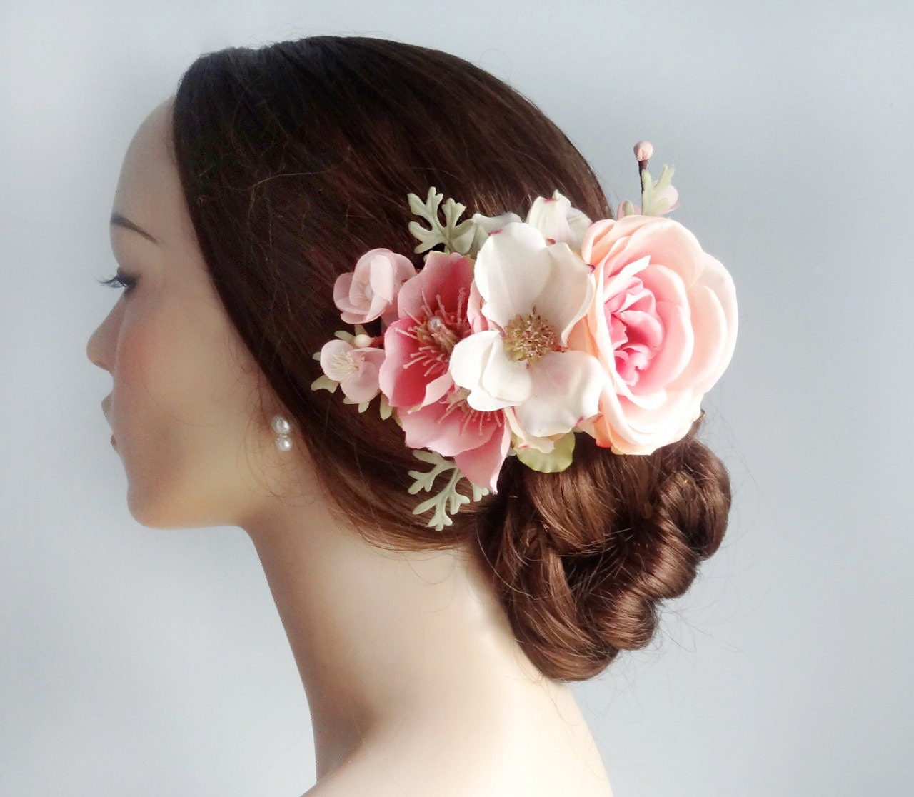 Flower Hair Pieces For Wedding: Bridal Flower Hair Clip Pink And Mint Green Wedding Hairpiece