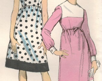 1960s Vogue 6738 Vintage Sewing Pattern Misses Dress, Empire Waist Dress Size 10 Bust 31