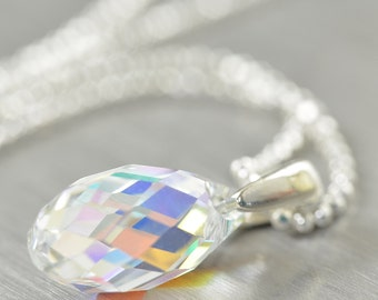 Valentine's Day gift Diamond necklace, Diamond Swarovski crystal pendant necklace gifts for her