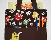 Crayon Tote Bag, Tote Bag, Crayon Holder, M&M's Crayon Bag, Yellow M+M,  Ready to Ship