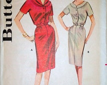 Vintage 60's Butterick 9966 Misses' Slim Skirted Dress Sewing Pattern, Size 14, 34 Bust