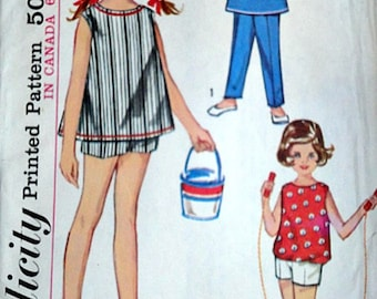 Vintage 60's Child's Top And Boxer Pants In Two Lengths, Simplicity 5478 Sewing Pattern, Size 2, Easy to Sew, Retro Summer/Beachwear, Uncut