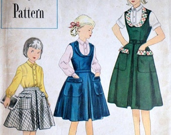 Vintage 50's Simplicity 8304 Designer's Pattern, Girls' Jumper, Skirt And Blouse, Size 8, Breast 26, Rare Pattern