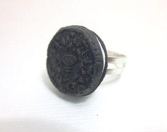 Oreo Cookie Ring, Miniature Food Jewelry, Polymer Clay Food Jewelry