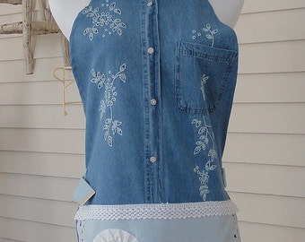 Shabby Chic Farmgirl Apron / Denim With Machine Embroidery and Cutwork Accents