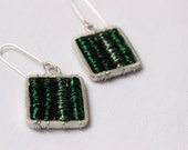 "Square Earrings, green silver colors,Sterling silver  tangled wires, perfect for everyday wear,super mod,unique,copper, ""Tangle earrings"""