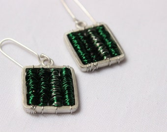 """Square Earrings, green silver colors,Sterling silver  tangled wires, perfect for everyday wear,super mod,unique,copper, """"Tangle earrings"""""""