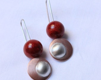Geometric Orbit earrings, Sleek mixed metal earrings made of Sterling silver, Copper and Red Coral, Dangle, Symmetrical, Red earrings, Round