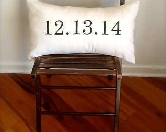 Personalized Wedding or Anniversary Date Pillow Cover...great for weddings, showers, anniversaries