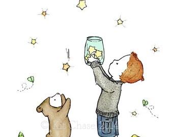 Children's Art - Catching Stars -- Art Print