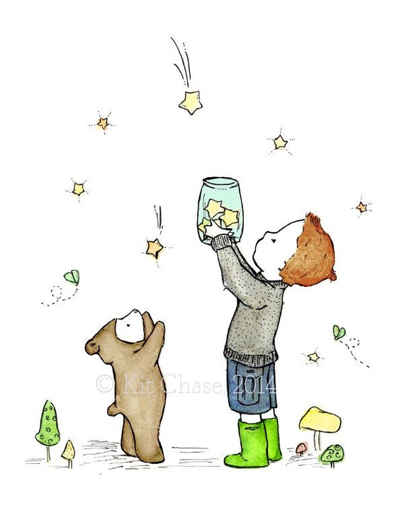 Children's Art - Catching Stars -- Art Print
