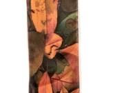 "SILK SCARF  -  ""Apple""  Fine Art Fallen Apple Leaves Image on Habotai Silk   -  14""  x  72"" - wearable art"