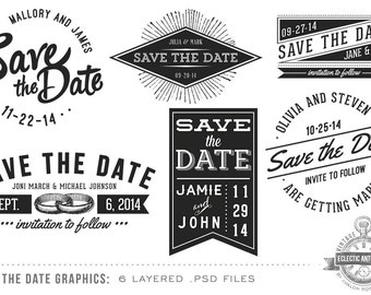 INSTANT DOWNLOAD - 6 Vintage Save the Date Wedding Overlay Graphics - Layered .psd files