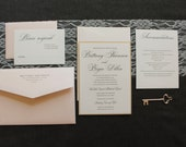 Formal Gold Wedding Invitation - Champagne and Blush Pink Wedding - Simple, Elegant, Traditional - Custom Invitation - Brittany and Bryce