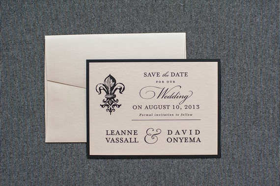 Black and Blush Pink Fleur De Lis Wedding Save the Date Card - Vintage Style - Leanne and David