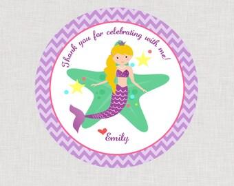 Mermaid Happy Birthday Favor Tags or Stickers Printable File PDF Purple Blonde Hair