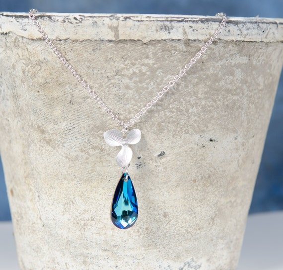 Swarovski Necklace | Silver | Orchid | Blue | ocean crystal floral glass drop bridesmaid bridal jewelry | Handmade in Santa Cruz