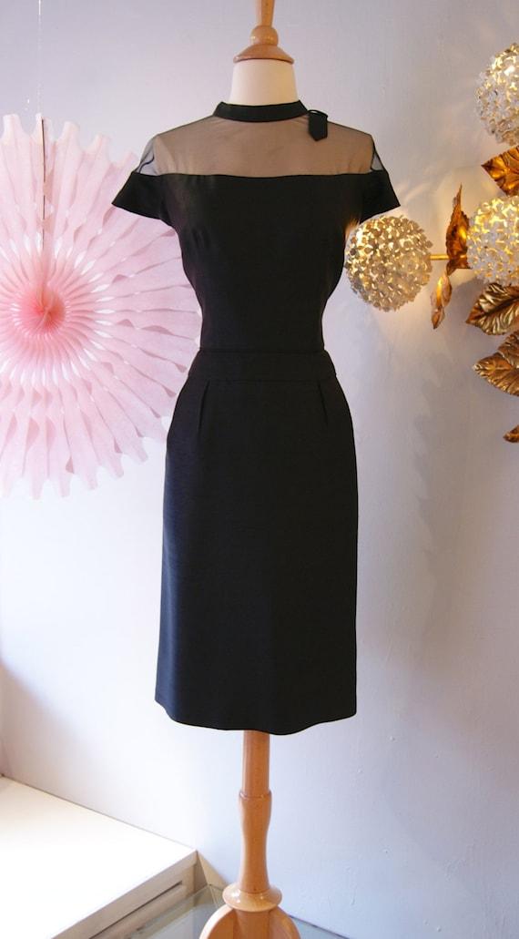 1950s Dress Vintage 50s Sexy Mesh Wiggle Dress
