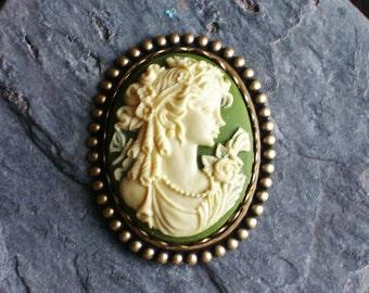 Irish green cameo brooch, antique brass brooch, victorian brooch, green brooch