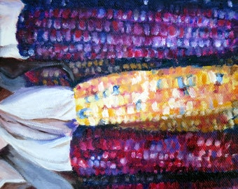 Indian Corn, an oil painting