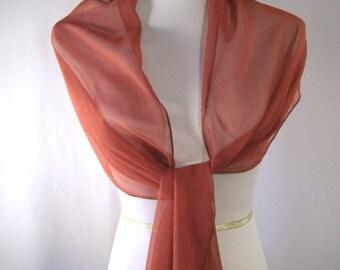 Cinnamon Evening Wrap - Shawl Scarf - Stole - One Shoulder Drape - Cinnamon Chiffon - Pashmina - Dressy Wrap - Extra Long