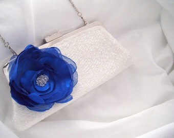Something Blue - White Beaded Bridal Clutch - Hand Embellished - Flower Clutch - Kiss Lock Clutch - clutch purse - Bridal Clutch - beaded