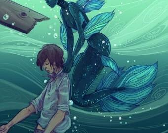 Coelacanth Mermaid Rescue 8x12 print