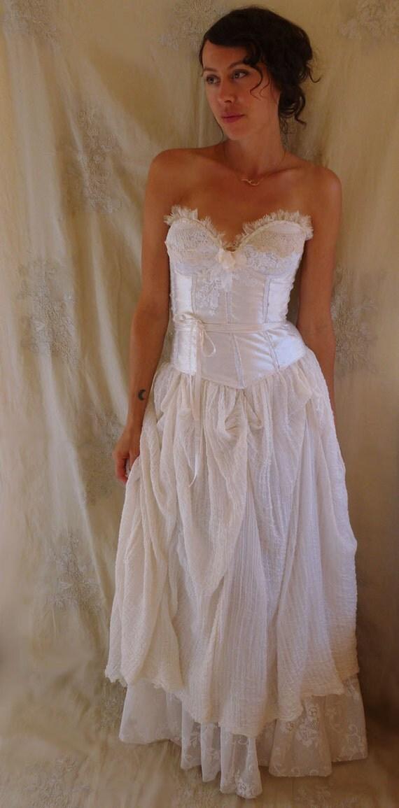 Woodland nymph wedding gown whimsical fairy boho bustier for Woodland fairy wedding dress
