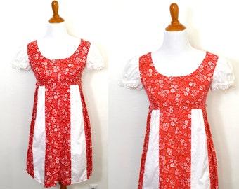 SALE Red Floral Dress - Short Red Dress - Hawaiian Dress - Eyelet Dress