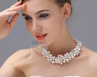 Wedding Necklace, Pearl Bridal Necklace,  Vintage Rhinestone Chunky Wedding Necklace, Multistrands, Statement Necklace, Swarovski Necklace