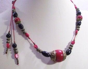 Funky Tribal Eccentric Tibetan Brass Bronze Coral  Adjustable Necklace