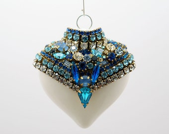 Opuluent, One of a Kind Swarovski Christmas Ornament in Frosty blue & white - Completely unique