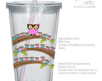 Teacher gift tumbler - school hoot owl teacher gift personalized double wall clear acrylic tumbler - BPA free