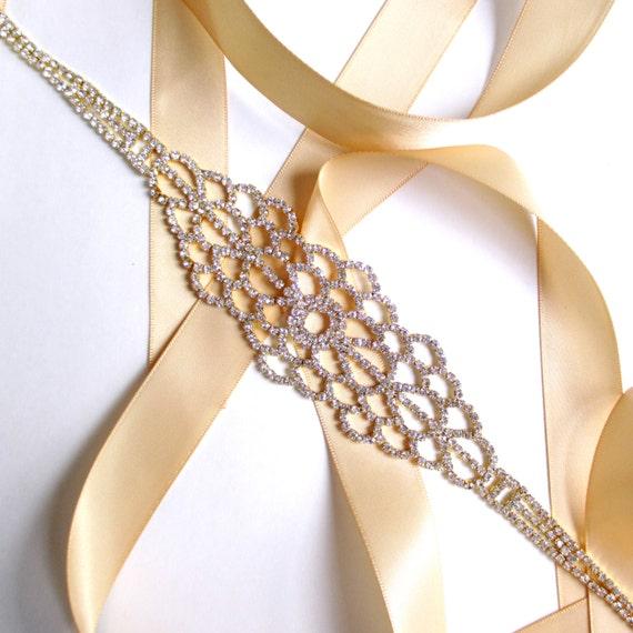 Unique Wedding Dress Sashes Belts: Gold Rhinestone Encrusted Bridal Belt Sash Custom By