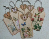 Butterfly tags vintage style garden hearts roses any occasion flowers floral gift tags - set of 6