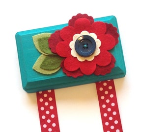 Hair Clip Holder - Teal and Red - Barrette Organizer - Free US Shipping
