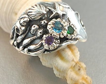 Ocean Ring Silver Tide Pool Ring with Gemstones Ocean Jewelry Shell Jewelry Sea Jewelry Sterling Silver Ring