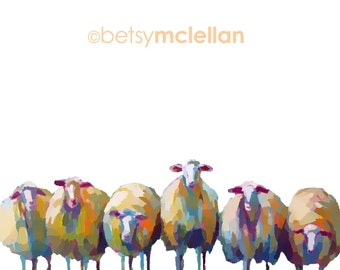 Flock of Sheep - Graphic Style - Paper - Canvas - Wood Block