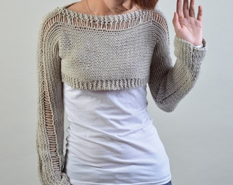 Hand knit sweater, Little shrug, cover up top in light grey-S/M ready to ship