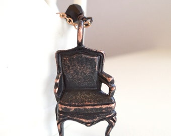 Chair Charm Necklace - Victorian Chair Charm - made with Swarovski Crystals - Black and Copper