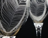 2 Wine Glasses 'Peacock Feathers' Hand Engraved Peacock Wedding Wine Glasses . Featured in Wine Enthusiast Magazine December 2015