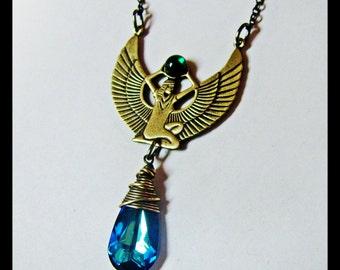 Golden Egyptian Goddess and Bermuda Blue Swarovski Crystal Necklace