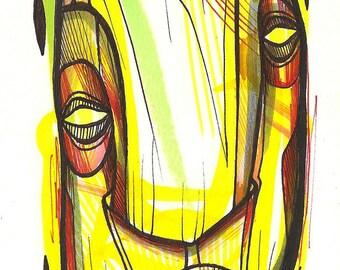 "Respirit - Original 4"" x 6"" Illustration on Bristol Board - Signed and Framed"