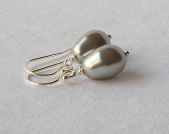 Silver Gray Pearl Earrings, Bridesmaid Jewelry Gift, Gray Pearls