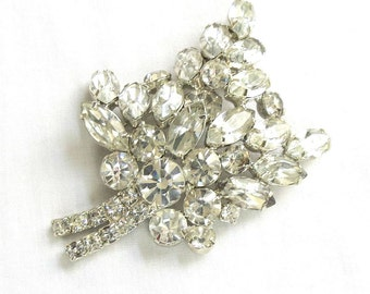 Vintage Verified Juliana Clear Crystal Rhinestone Domed Leaf Pin or Brooch