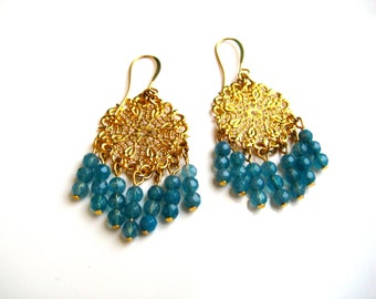 Gold Filagree Chandelier Earrings with Crysycola Beads